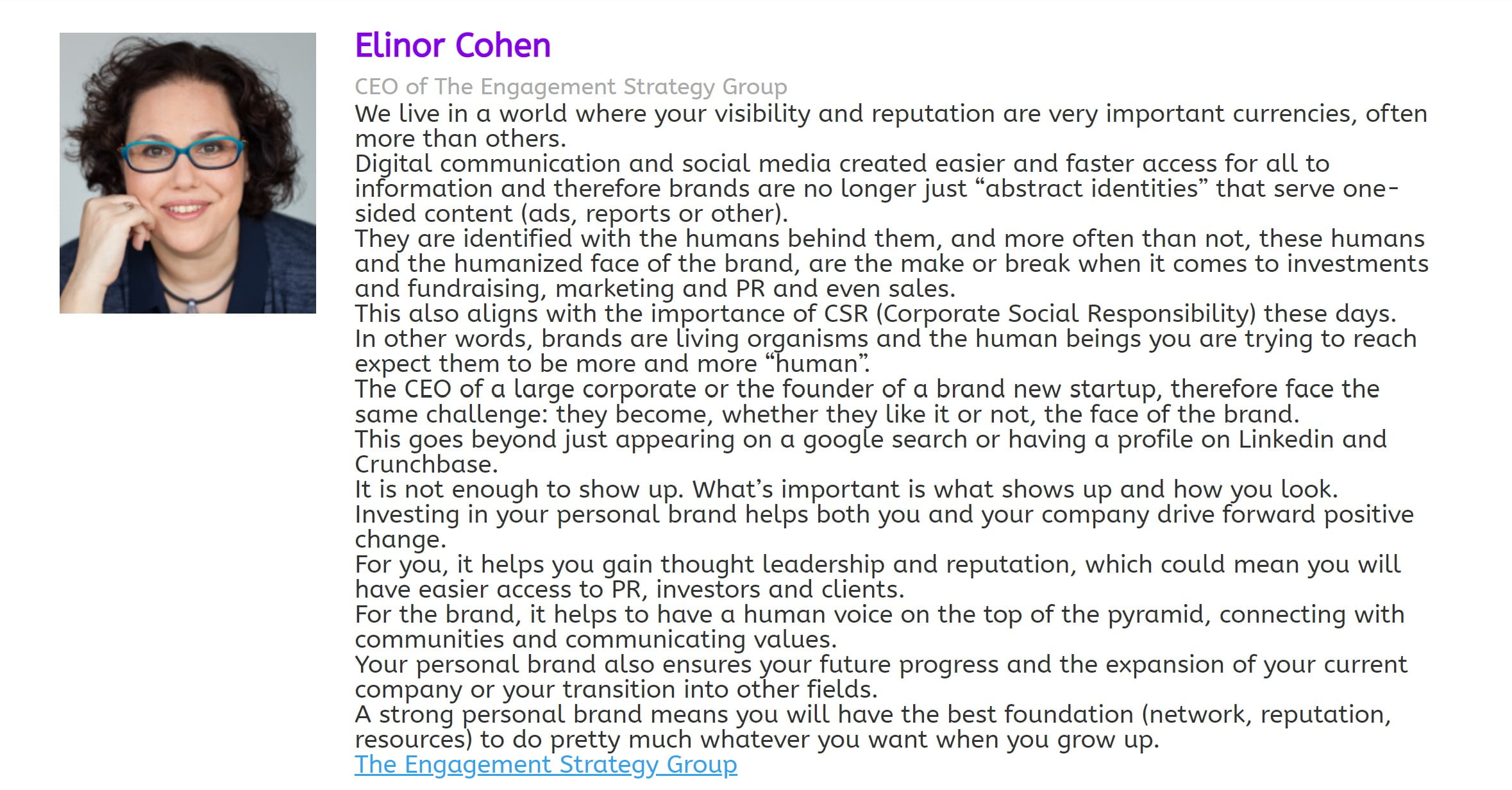 """Elinor Cohen on what """"personal brand"""" means"""